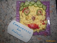 Рецепт Воздушный омлет с помидорами и сосиской рецепт с фото