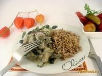 Рецепт Индюшачье сердце с грибами в сметанном соусе рецепт с фото