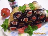Рецепт Баклажановые рулетики с сыром и помидором рецепт с фото