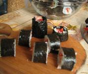Рецепт Домашние роллы с семгой и овощами рецепт с фото