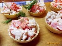 Рецепт Тарталетки с курицей и помидорами рецепт с фото