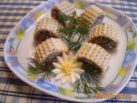 Рецепт Рыбные вафельные рулетики рецепт с фото