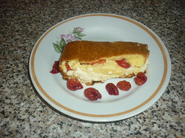 Рецепт Творожный кекс с вишней и заварным кремом рецепт с фото
