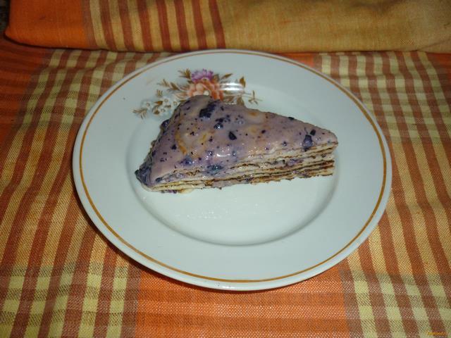 Рецепт Блинный торт с чернично-шоколадным кремом рецепт с фото