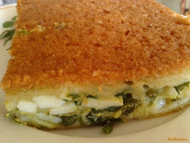 Рецепт Заливной пирог с зелёным луком и яйцами рецепт с фото