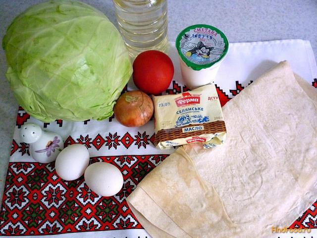 Пирог с капустой из лаваша рецепт с фото 1-го шага