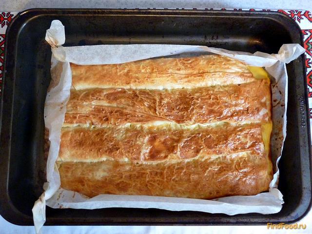 Пирог с капустой из лаваша рецепт с фото 9-го шага