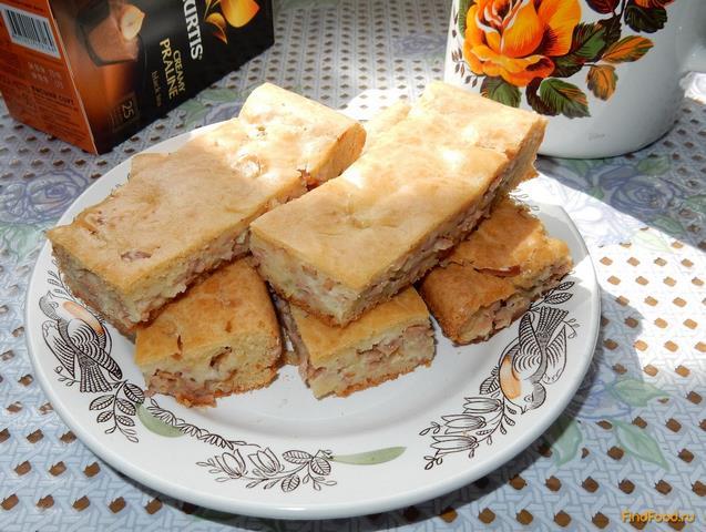 Рецепт Заливной пирог с сыром и колбасой рецепт с фото