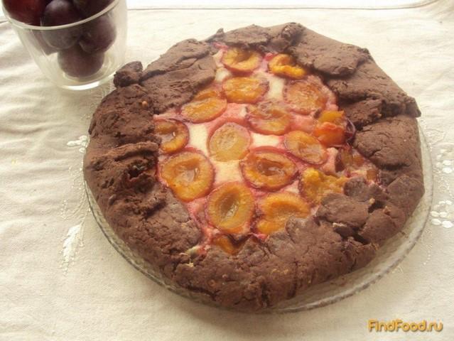 Рецепт Шоколадная галета со сливами и творогом рецепт с фото