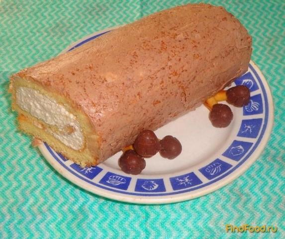 Рецепт Рулет с молочно - сливочным кремом рецепт с фото
