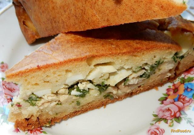 Рецепт Заливной пирог с куриным мясом и зеленым луком рецепт с фото