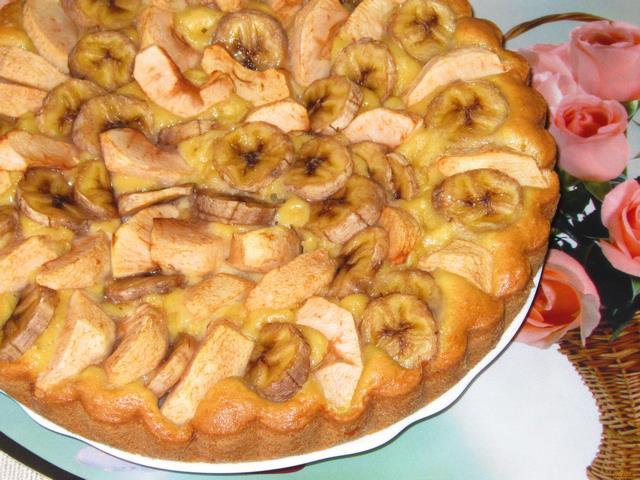Пирог с яблоками и бананом рецепт с пошагово в духовке