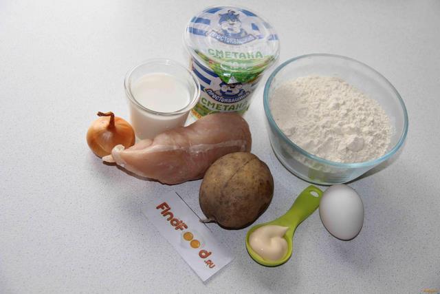 Курники с курицей и картофелем рецепт с фото 1-го шага