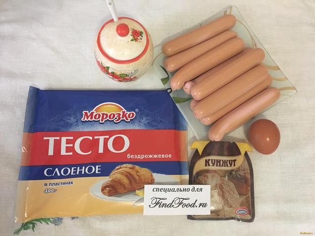 Рецепт сосиски в тесте из бездрожжевого теста в духовке рецепт пошагово