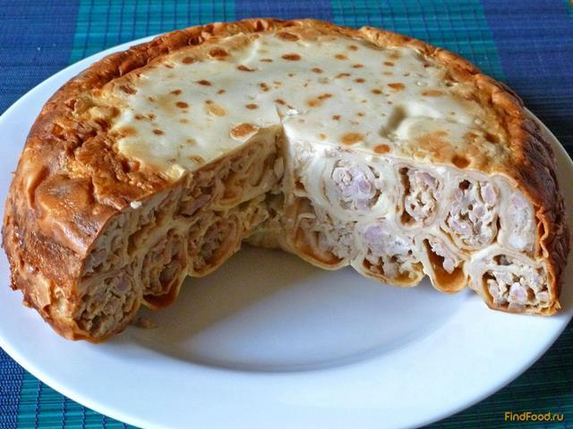 Блинный пирог с мясом рецепты с