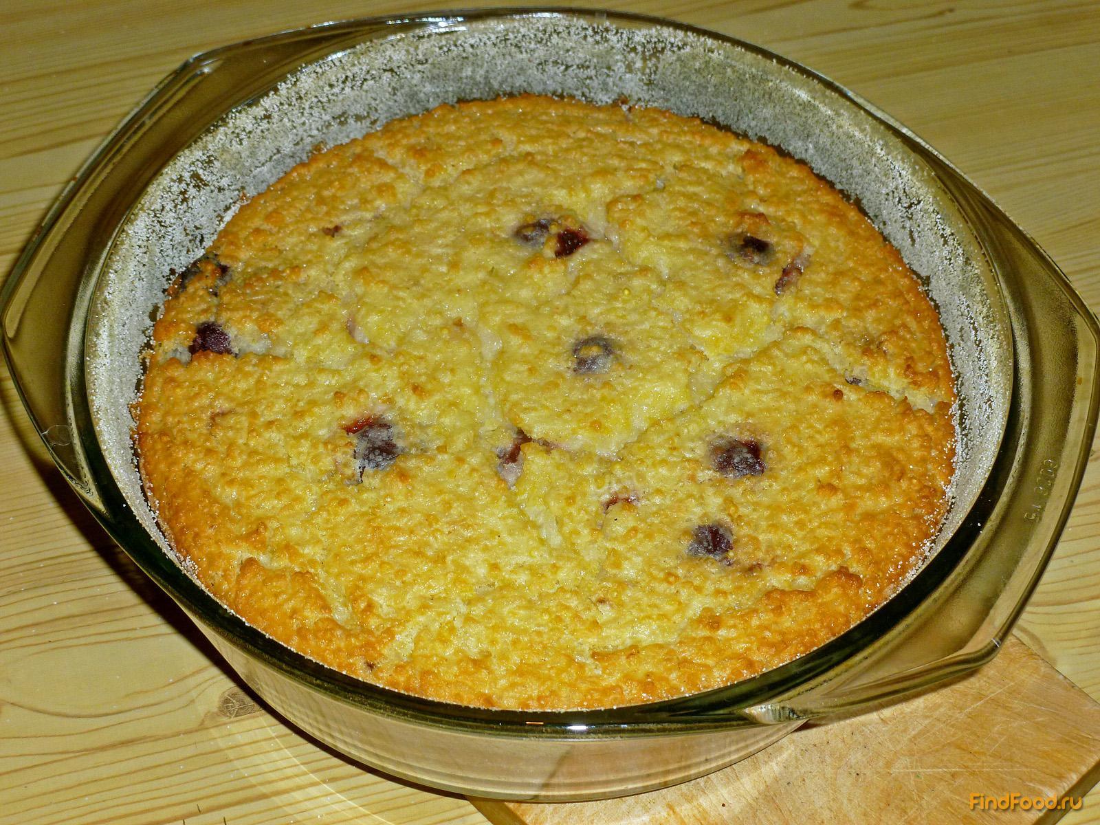 Крупеник из риса и пшена с вишней рецепт с фото 7-го шага