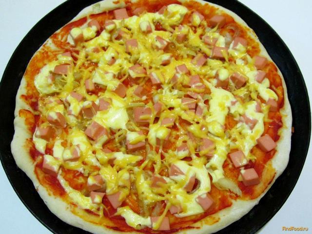 Рецепт пиццы с колбасой пошагово с фото