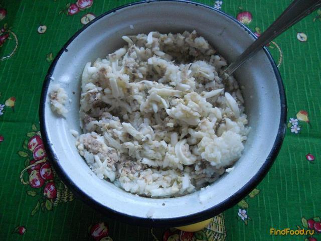 Быстрый пирог с консервами и рисом рецепт с фото 6-го шага