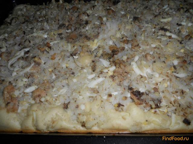 Быстрый пирог с консервами и рисом рецепт с фото 13-го шага