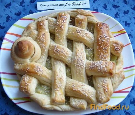Ревеневый пирог из слоеного теста рецепт с фото 5-го шага
