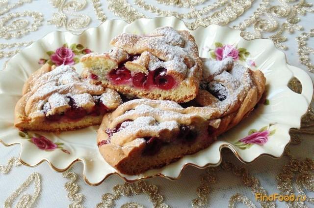 Рецепт Песочный пирог с вишней рецепт с фото