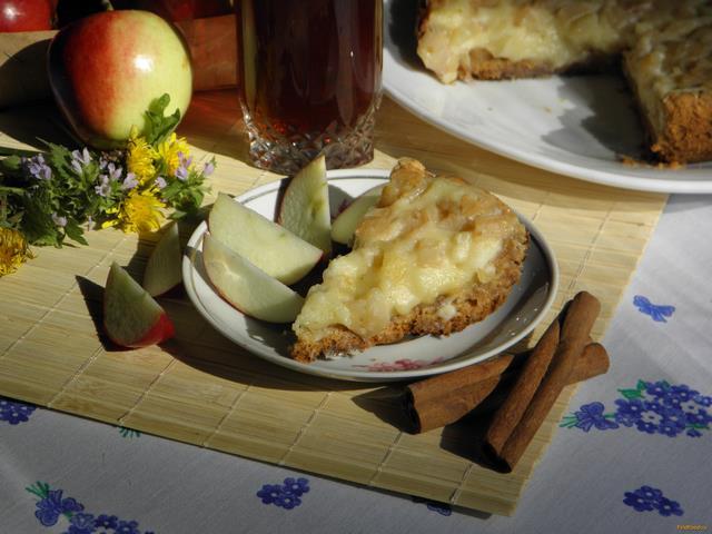 Рецепт Яблочный пирог со сметанным суфле рецепт с фото