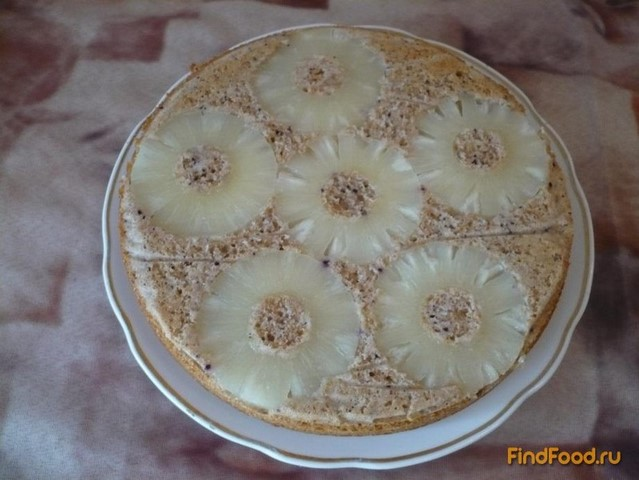 Рецепт Пирог-перевертыш с отрубями и ананасами рецепт с фото