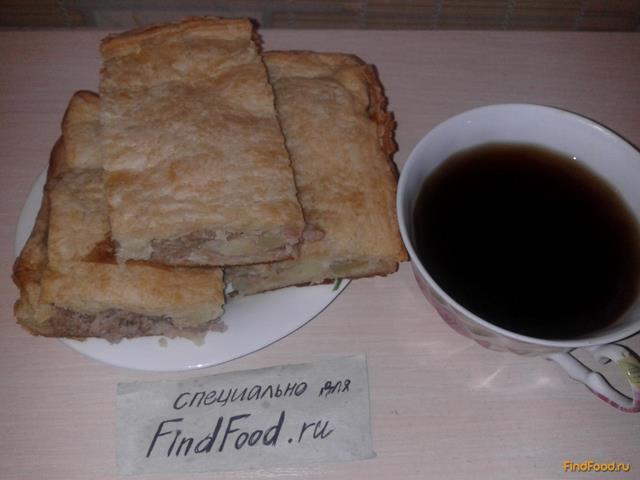 Пирог с фаршем из слоёного теста рецепт с фото 11-го шага