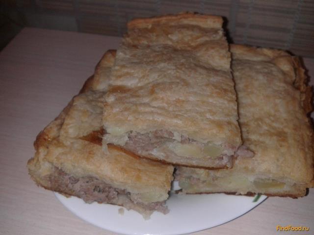 Рецепт Пирог с фаршем из слоёного теста рецепт с фото