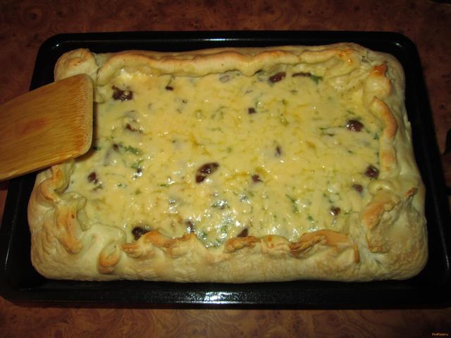 Рецепт Открытый пирог с грибами и сыром рецепт с фото