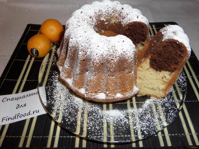 Рецепт Кекс двухцветный с мандаринами рецепт с фото