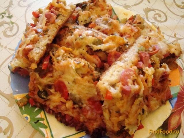 Домашняя пицца с колбасой рецепт с фото 20-го шага