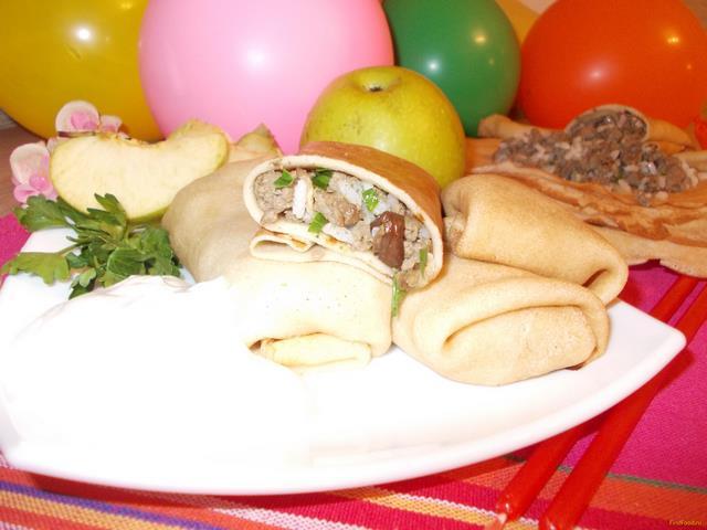 Рецепт Блинчики с мясом белыми грибами и рисом рецепт с фото