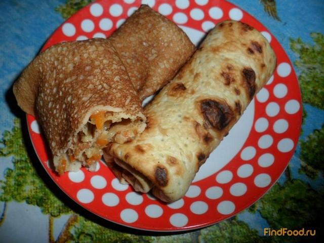 Рецепт Блинчики с мясным фаршем и овощами рецепт с фото