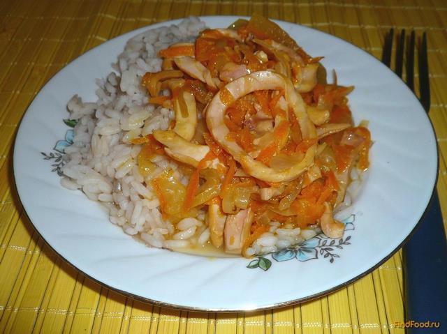 Рецепт Кальмары с луком и морковью рецепт с фото