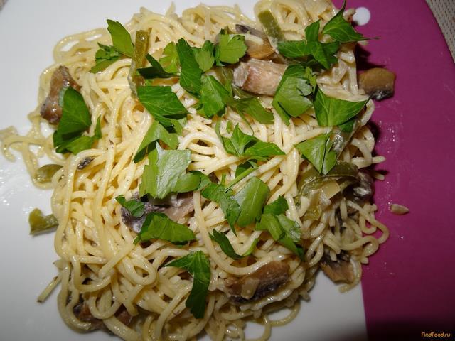 Рецепт Спагетти с грибами и болгарским перцем рецепт с фото