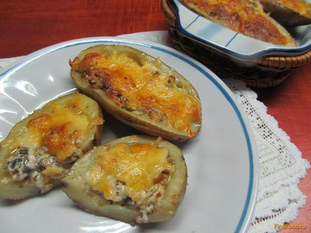 Рецепт Запеченный картофель с грибами под сыром рецепт с фото