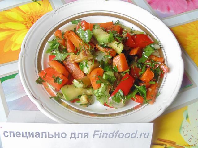 Рецепт Теплый салат из кабачка перца и морковки рецепт с фото