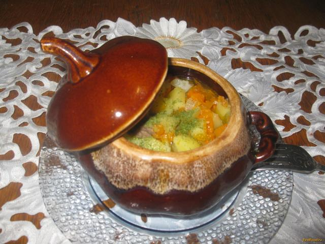 Рецепт Свинина с овощами в горшочке рецепт с фото