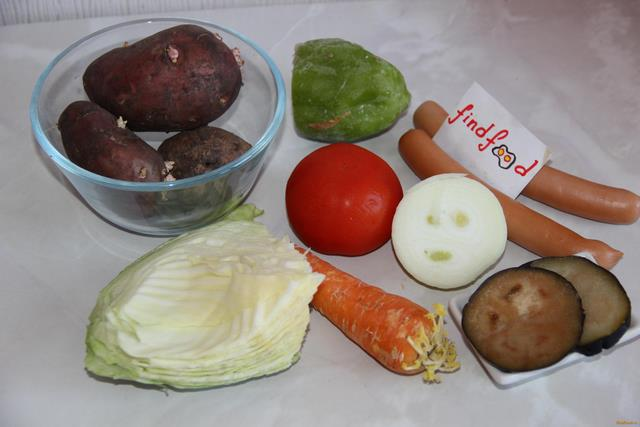 Овощное рагу с сосисками рецепт с фото 1-го шага