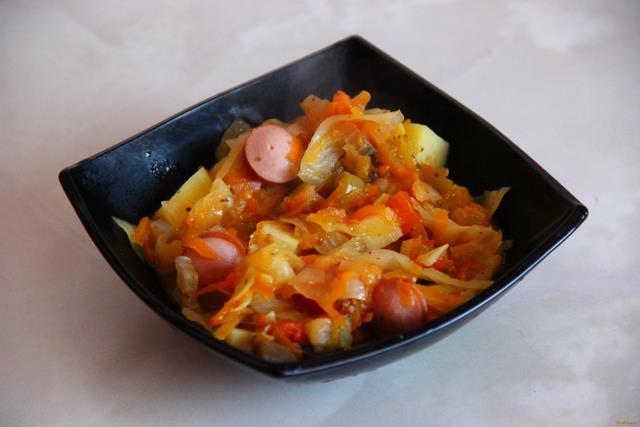 Овощное рагу с сосисками рецепт с фото 15-го шага