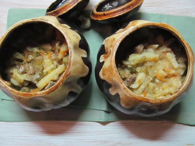 Рецепт Печень с картофелем в горшочках рецепт с фото