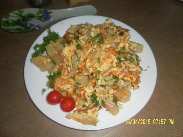 Рецепт Омлет с отварным картофелем рецепт с фото