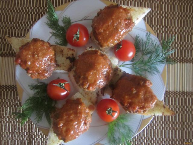 Рецепт Биточки из куриных желудков на тостах рецепт с фото