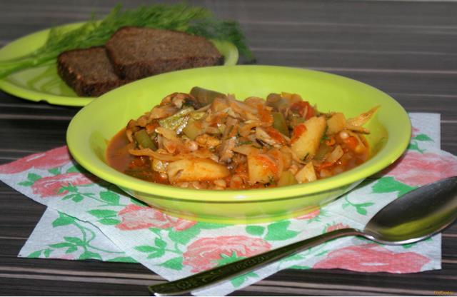 Рецепт Овощное рагу с фасолью рецепт с фото