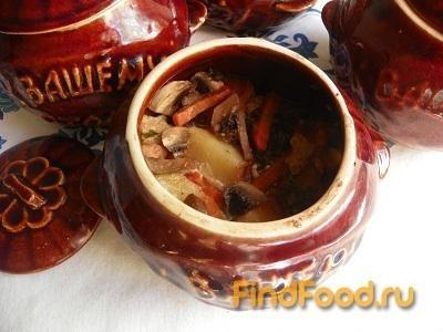 Рецепт Картофель с грибами мясом и черносливом в горшочках рецепт с фото