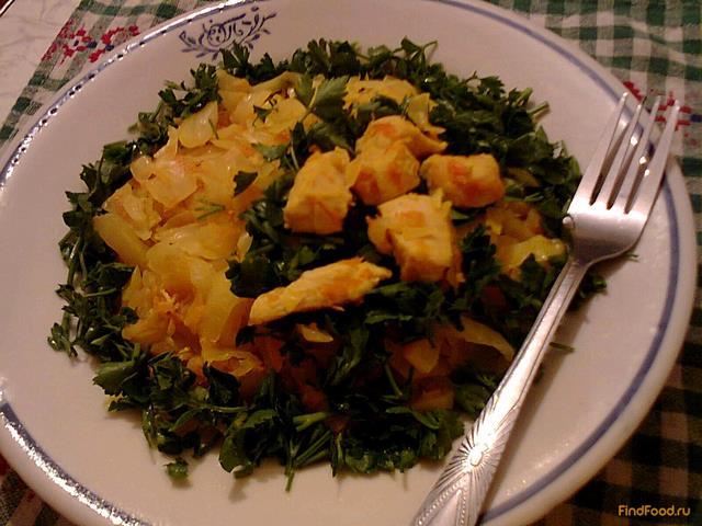 Рецепт Тушеная капуста с курицей и куркумой рецепт с фото