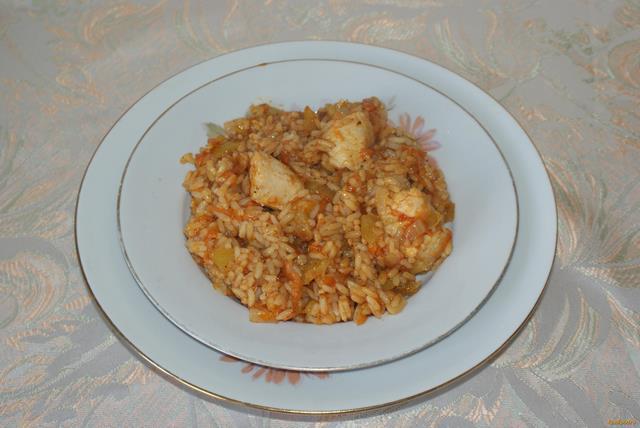Рецепт Тушеная курица с рисом рецепт с фото