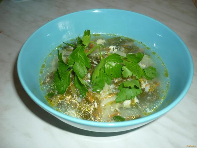 Рецепт Зеленый борщ с щавелем и рисом на костном бульоне рецепт с фото