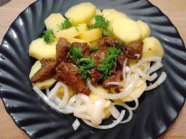 Рецепт Вареный картофель со свиной печенью и луком рецепт с фото